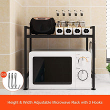 Load image into Gallery viewer, Featured whifea microwave oven rack expandable and width adjustable microwave shelf 2 tier kitchen counter shelf and organizer with 3 hooks carbon steel 55lbs weight capacity matte black