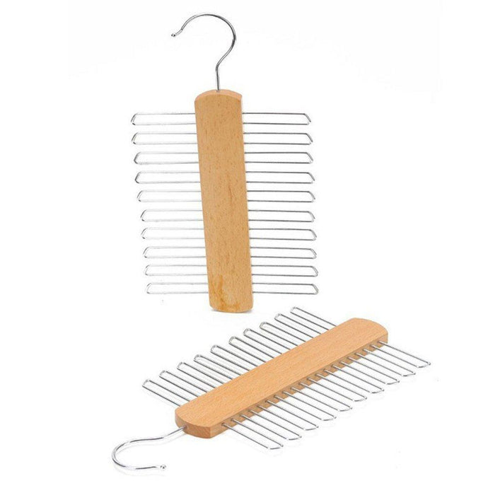 Wooden 20 Bar Tie Rack Hanger - Scarf, Belt, Accessory Organiser
