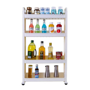 Results baoyouni slim slide out rolling storage cart tower narrow space organizer rack with wheels for laundry bathroom kitchen living room 4 tier