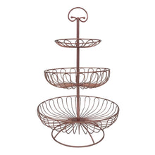 Load image into Gallery viewer, Storage organizer 3 tier metal wire fruit vegetable basket tower decorative fruit basket countertop stand kitchen counter produce organizer with top handle bronze pink