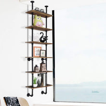 Load image into Gallery viewer, Shop giantex 6 tier industrial pipe shelves with wood rustic wall shelves vintage pipe wall shelf for bedrooms kitchens coffee shops or bar storage pickles wood grain