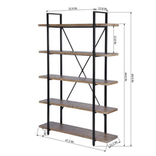 Load image into Gallery viewer, Top framodo 5 shelf open vintage industrial bookshelf rustic wood and metal 5 tier bookcase for home office organizer and display shelves