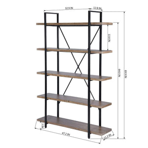 Top framodo 5 shelf open vintage industrial bookshelf rustic wood and metal 5 tier bookcase for home office organizer and display shelves