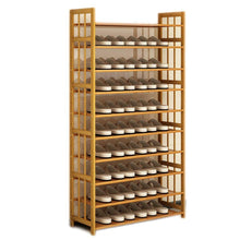 Load image into Gallery viewer, Budget friendly dulplay bamboo shoe rack 100 solid wood function assemble entryway shelf stand shelves stackable entryway bedroom 3 10 tier 6 40 shoes b 79x25x155cm31x10x61inch