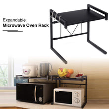 Load image into Gallery viewer, Select nice gemitto microwave oven rack expandable carbon steel microwave shelf kitchen counter shelf 2 tiers with 3 hooks 55lbs weight capacity 40 60x36x42cm 15 8 23 6x14 2x16 5 black