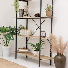 Load image into Gallery viewer, Purchase c hopetree open bookcase bookshelf large storage ladder shelf vintage industrial plant display stand rack home office furniture black metal frame 4 tier open
