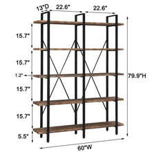 Load image into Gallery viewer, Explore o k furniture double wide 5 tier open bookcases furniture vintage industrial etagere bookshelf large book shelves for home office decor display retro brown