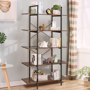 Related cocoarm 5 tier vintage industrial rustic bookshelf wall mountable bookcase in wood and metal ladder shelf for living room or office organizer storage bookshelf
