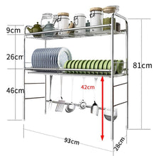 Load image into Gallery viewer, Online shopping dish rack over sink stainless steel 2 tier dish drying rack with drain board kitchen shelves free standing rack 5 size 93cm 28cm 81m