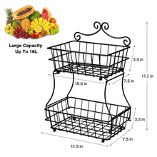 Load image into Gallery viewer, Shop linkfu 2 tier fruit bread basket removable screwless metal storage basket rack for snack bread fruit vegetables counter table kitchen and home black