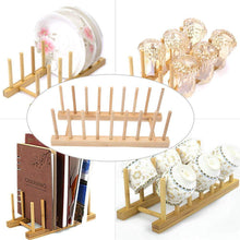 Load image into Gallery viewer, On amazon dish dryer rack 4 pcs bamboo dish rack collapsible 2 tier dish rack for holding plates glass cups and utensils dish rack with utensil holder