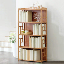 Load image into Gallery viewer, Purchase qiangda floor bookshelf student bookcase childrens bedroom bamboo file shelves magazine rack simple style 2 tiers 3 tiers 4 tiers optional size 70 x 30 x 135cm