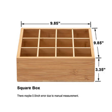 Load image into Gallery viewer, Explore gobam tie and belt organizer box closet underwear storage box drawer divider for bras briefs socks and mens accessories compartments of 12 natural bamboo
