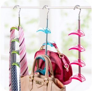 LOUISE MAELYS Rotating Handbag Hanger Rack Closet Organizer for Bag Ties Belt Scarf 4 Hooks Clear