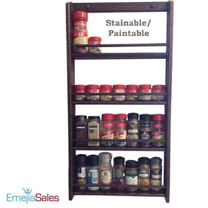 Organize with emejiasales oak spice rack wall mount organizer 5 tier solid oak wood with natural finish seasoning storage for pantry and kitchen holds 30 herb jars