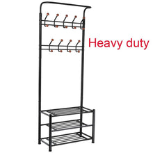Load image into Gallery viewer, Budget fyheart heavy duty coat shoe entryway rack with 3 tier shoe bench shelves organizer with coat hat umbrella rack 18 hooks for hallway entryway metal black