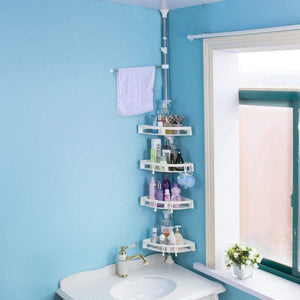 Save baoyouni bathroom shower storage corner caddy tension pole 4 tier bathtub caddies shelf rod organizer rack with towel bar extra large trays ivory