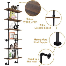 Load image into Gallery viewer, Shop for giantex 6 tier industrial pipe shelves with wood rustic wall shelves vintage pipe wall shelf for bedrooms kitchens coffee shops or bar storage pickles wood grain