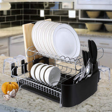 Load image into Gallery viewer, Amazon best alvorog 2 tier dish drying rack large capacity dish holder rack microfiber mat included fully customizable kitchen organizer with removable drainboard cutlery cup holder