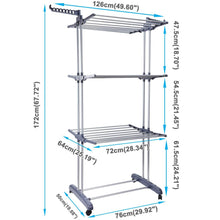 Load image into Gallery viewer, Discover voilamart clothes drying rack 3 tier with wheels foldable clothes garment dryer compact storage heavy duty stainless steel hanger laundry indoor outdoor airer