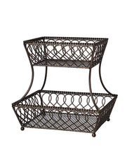 Load image into Gallery viewer, New gourmet basics by mikasa 5201553 loop and lattice 2 tier metal rectangular fruit storage basket 14 inch antique black pack of 4