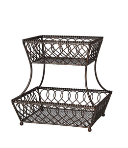 New gourmet basics by mikasa 5201553 loop and lattice 2 tier metal rectangular fruit storage basket 14 inch antique black pack of 4