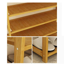 Load image into Gallery viewer, Discover dulplay bamboo shoe rack 100 solid wood function assemble entryway shelf stand shelves stackable entryway bedroom 3 10 tier 6 40 shoes b 79x25x155cm31x10x61inch