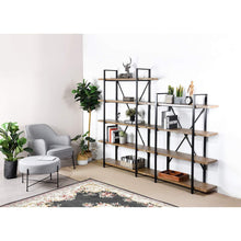 Load image into Gallery viewer, The best framodo 5 shelf open vintage industrial bookshelf rustic wood and metal 5 tier bookcase for home office organizer and display shelves