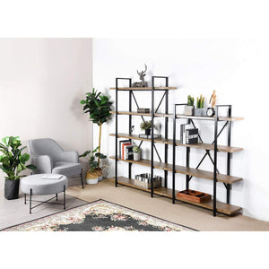 The best framodo 5 shelf open vintage industrial bookshelf rustic wood and metal 5 tier bookcase for home office organizer and display shelves