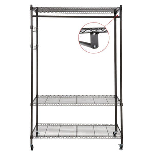 Save on homdox 3 tiers large size heavy duty wire shelving garment rolling rack clothing rack with double clothes rods and lockable wheels 1 pair side hooks black