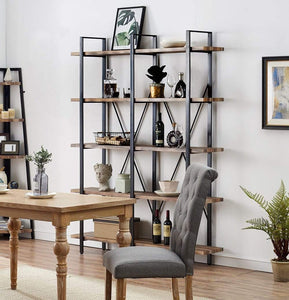 Great o k furniture double wide 5 tier open bookcases furniture vintage industrial etagere bookshelf large book shelves for home office decor display retro brown