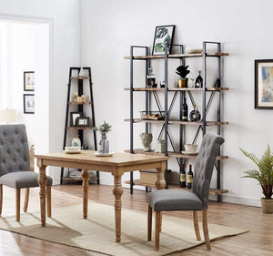 Exclusive o k furniture double wide 5 tier open bookcases furniture vintage industrial etagere bookshelf large book shelves for home office decor display retro brown
