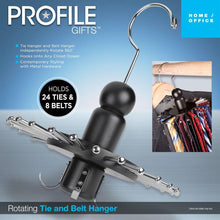 Load image into Gallery viewer, Launch Innovative Products Neil Rotating 8 Belt and 24 Tie Wooden Clothes Hanger - Black Wood - Spinning Closet Organizer for Holding Ties and Belts