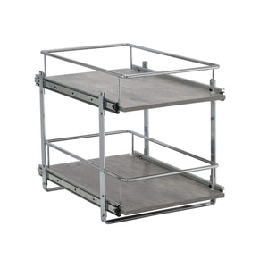 Buy household essentials c53335 1 glidez 2 tier kitchen cabinet organizer pull out shelves for storage 22 in d x 14 5 in w x 17 in h faux concrete wide