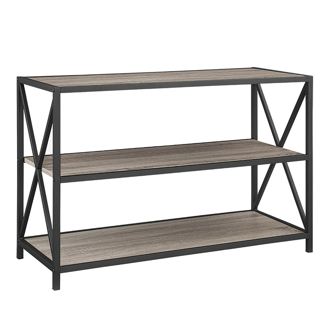 Products we furniture 40 x frame metal wood small media bookshelf short driftwood 3 tier display bookcase organizer 3 shelf entryway table