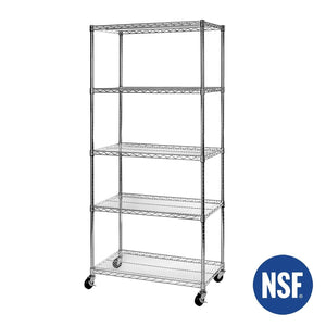 Top seville classics ultradurable commercial grade 5 tier nsf certified steel wire shelving with wheels 36 w x 18 d x 72 h x x plated