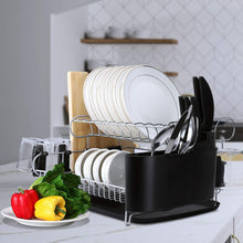 Load image into Gallery viewer, Amazon alvorog 2 tier dish drying rack large capacity dish holder rack microfiber mat included fully customizable kitchen organizer with removable drainboard cutlery cup holder