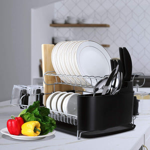 Amazon alvorog 2 tier dish drying rack large capacity dish holder rack microfiber mat included fully customizable kitchen organizer with removable drainboard cutlery cup holder