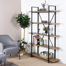 Load image into Gallery viewer, Storage framodo 5 shelf open vintage industrial bookshelf rustic wood and metal 5 tier bookcase for home office organizer and display shelves