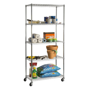 Storage seville classics ultradurable commercial grade 5 tier nsf certified steel wire shelving with wheels 36 w x 18 d x 72 h x x plated