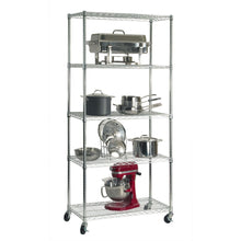 Load image into Gallery viewer, Shop here seville classics ultradurable commercial grade 5 tier nsf certified steel wire shelving with wheels 36 w x 18 d x 72 h x x plated