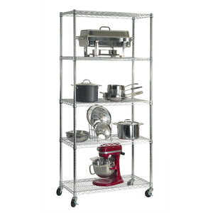 Shop here seville classics ultradurable commercial grade 5 tier nsf certified steel wire shelving with wheels 36 w x 18 d x 72 h x x plated