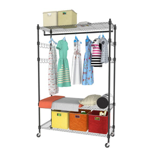 Shop homdox 3 tiers large size heavy duty wire shelving garment rolling rack clothing rack with double clothes rods and lockable wheels 1 pair side hooks black