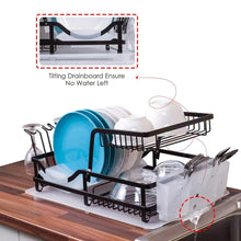 Load image into Gallery viewer, Results 2 tier dish rack dish drying rack with utensil holder and drain board wine glass holder easy storage rustproof kitchen counter dish drainer rack organizer iron