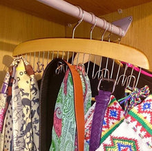 Load image into Gallery viewer, Louise Maelys Wooden 12 Hooks Tie Rack Hanger-Multipurpose Closet Organizer Holds for Tie Belt Scarf