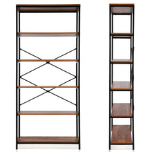 Load image into Gallery viewer, Storage flyerstoy 5 tier bookcase vintage industrial standing bookshelf wood and metal bookshelves for home and office organizer us stock brown