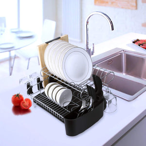 Try alvorog 2 tier dish drying rack large capacity dish holder rack microfiber mat included fully customizable kitchen organizer with removable drainboard cutlery cup holder
