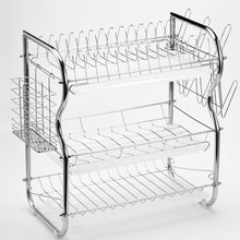 Load image into Gallery viewer, Cheap glotoch dish drying rack 3 tier dish rack with utensil holder cup holder and dish drainer for kitchen counter top plated chrome dish dryer silver 17 2 x 9 5 x 15 inch