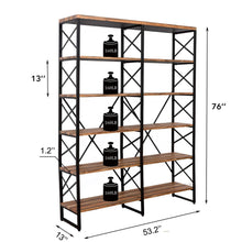 Load image into Gallery viewer, Kitchen ironck bookshelf double wide 6 tier 70 h open bookcase vintage industrial style shelves wood and metal bookshelves home office furniture