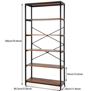 Select nice flyerstoy 5 tier bookcase vintage industrial standing bookshelf wood and metal bookshelves for home and office organizer us stock brown